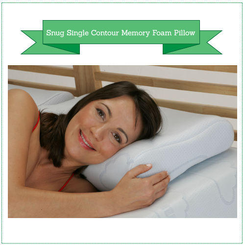 Snug Single Contour Memory Foam Pillow plus COOLMAX zipped washable cover